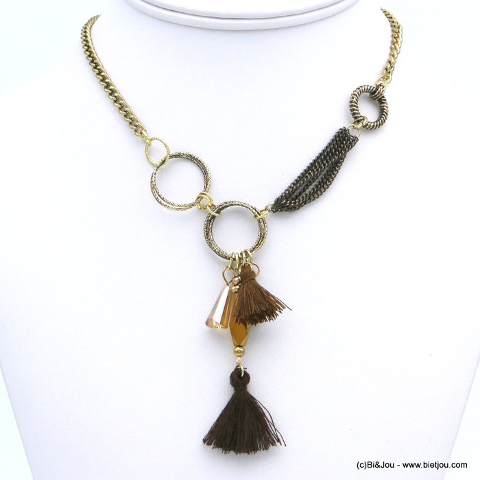 necklace 0118614-02 ethnic short fabric tassel crystal metal
