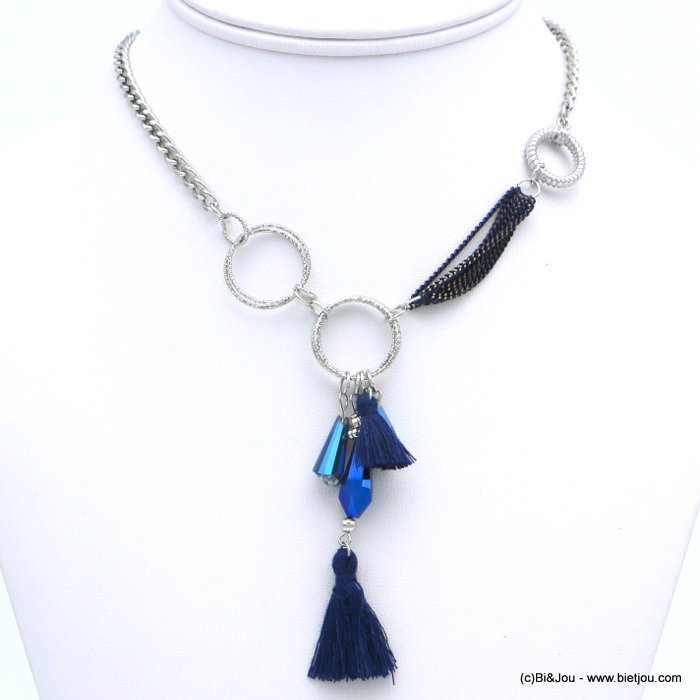 necklace 0118614-09 ethnic short fabric tassel crystal metal