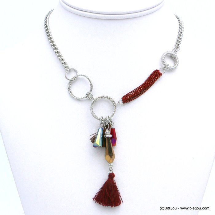 necklace 0118614-10 ethnic short fabric tassel crystal metal