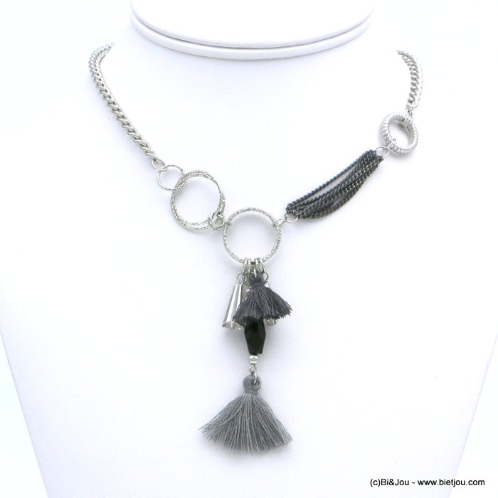 necklace 0118614-25 ethnic short fabric tassel crystal metal