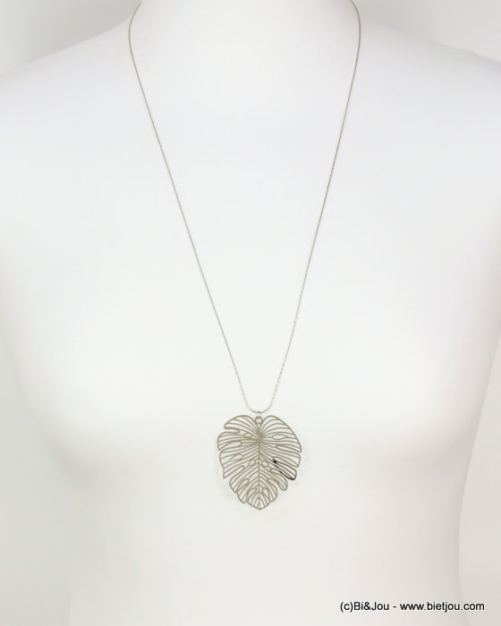 long necklace 0118622-13 sautoir monstera leaf metal pendant