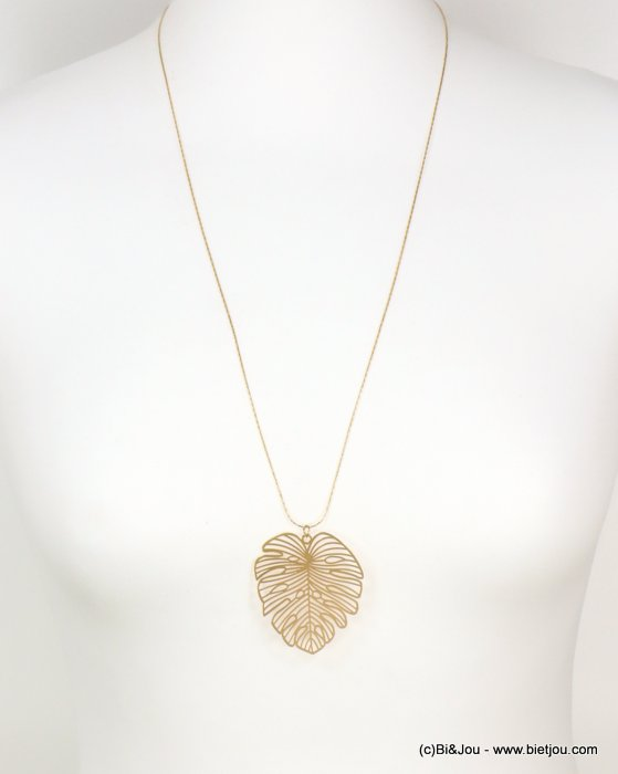 long necklace 0118622-14 sautoir monstera leaf metal pendant