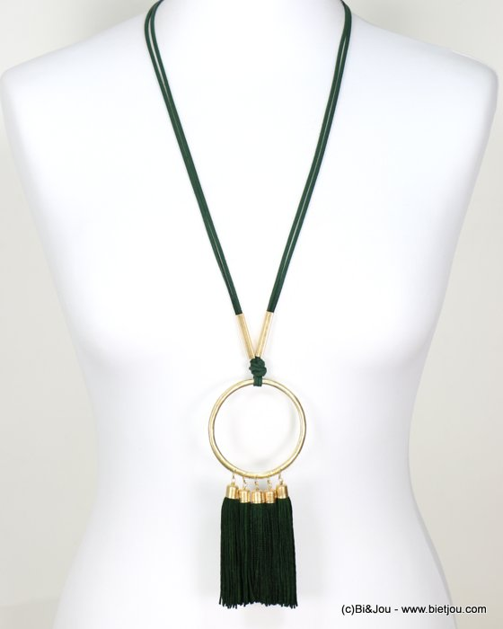 long necklace 0118631-03 faux-suede suede cord metal oversize dangle tassel