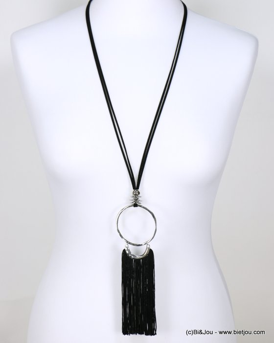 long necklace 0118632-01 faux-suede suede cord metal oversize dangle tassel