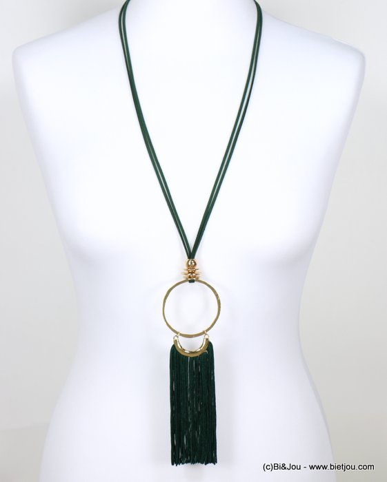 long necklace 0118632-03 faux-suede suede cord metal oversize dangle tassel