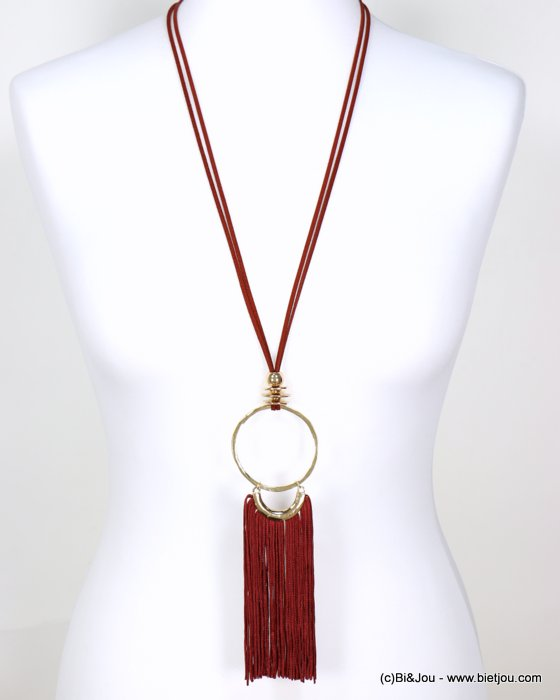 long necklace 0118632-10 faux-suede suede cord metal oversize dangle tassel