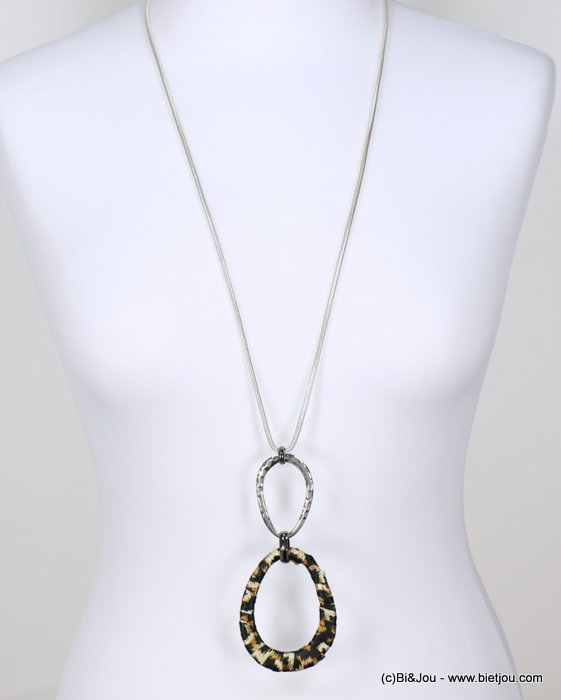 long necklace 0118639-02 sautoir leopard fabric hammered metal rings snake chain