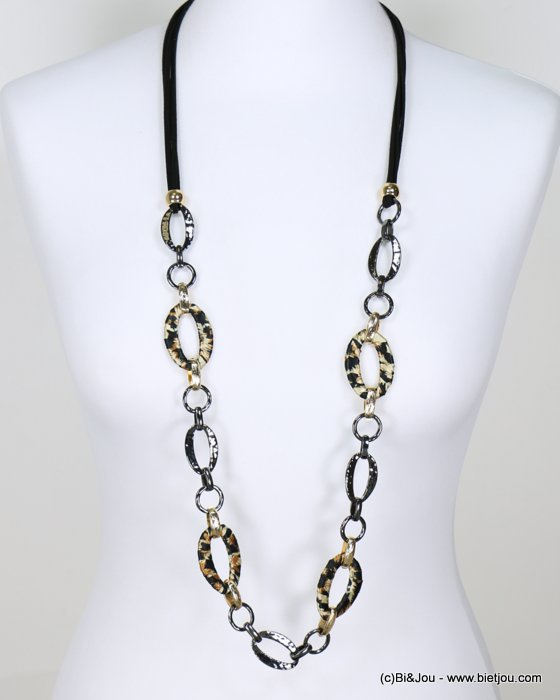 long necklace 0118641-02 sautoir leopard fabric hammered metal rings faux-suede cords synthetic