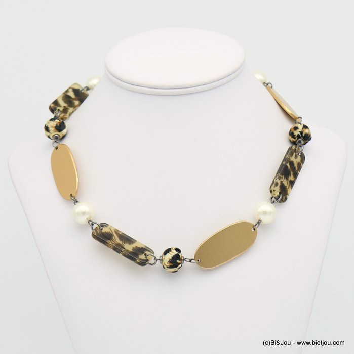 necklace 0118642-02 leopard print metal-resin-polyester-acrylic