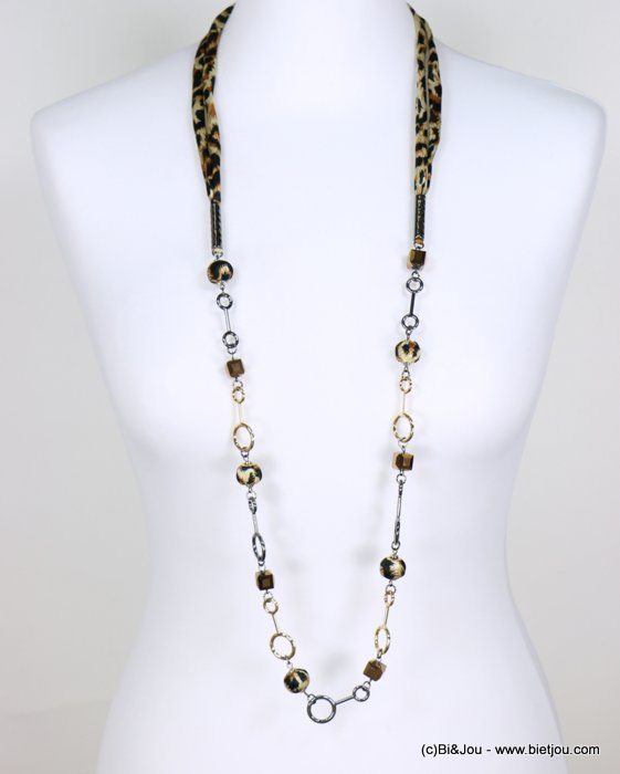 necklace 0118643-02 sautoir leopard print metal-crystal-polyester
