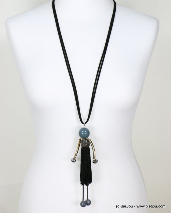 long necklace 0118646-01 sautoir doll rhinestone strass crystal polyester acrylic metal faux-suede cords