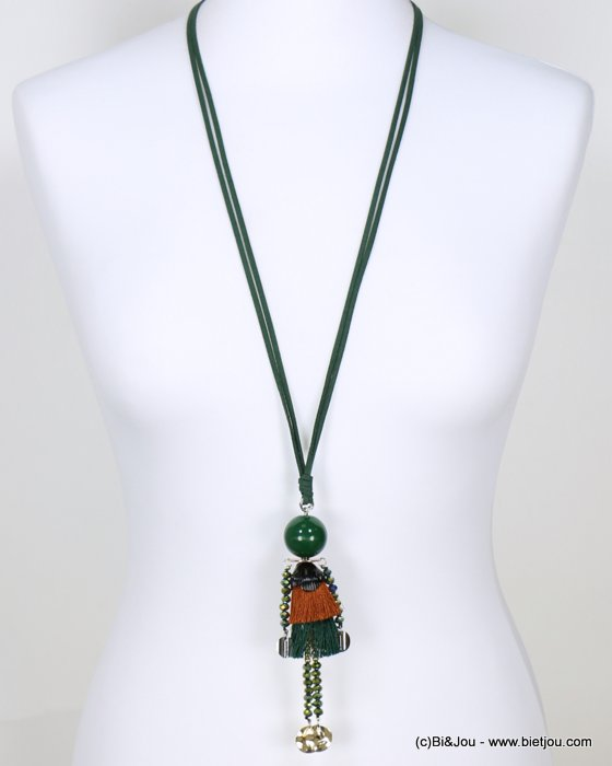 long necklace 0118647-03 sautoir doll crystal polyester acrylic metal faux-suede cords