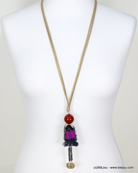 long necklace 0118647-10 sautoir doll crystal polyester acrylic metal faux-suede cords
