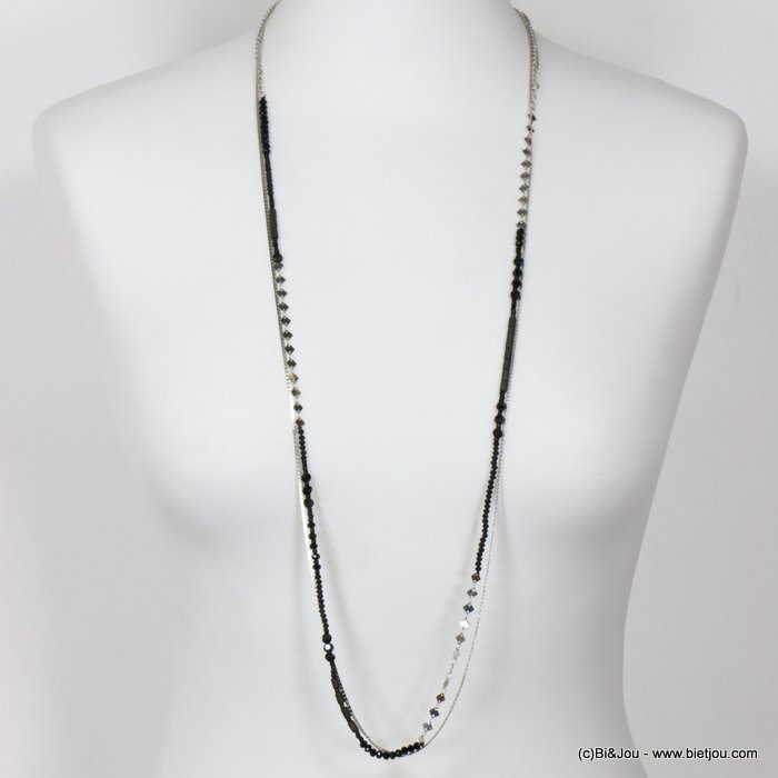 long necklace 0118653-01 thin sautoir crystal metal chain