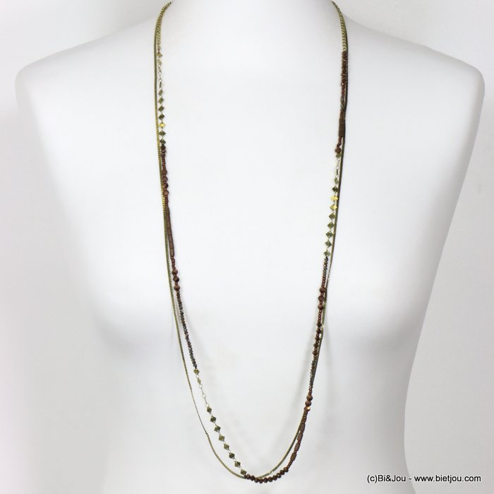long necklace 0118653-02 thin sautoir crystal metal chain