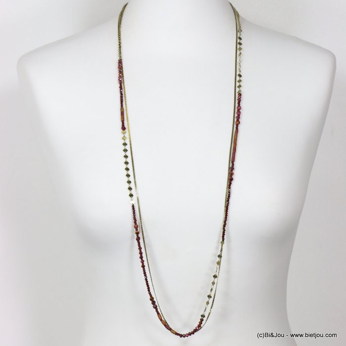 long necklace 0118653-10 thin sautoir crystal metal chain