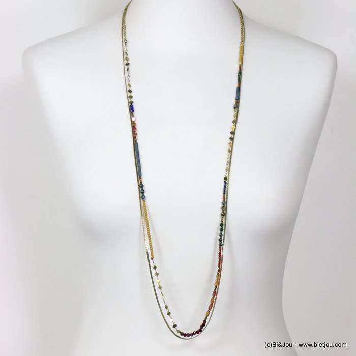 long necklace 0118653-99 thin sautoir crystal metal chain