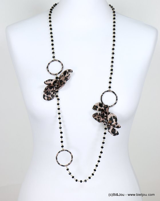 necklace 0118654-02 sautoir metal-crystal-polyester leopard print