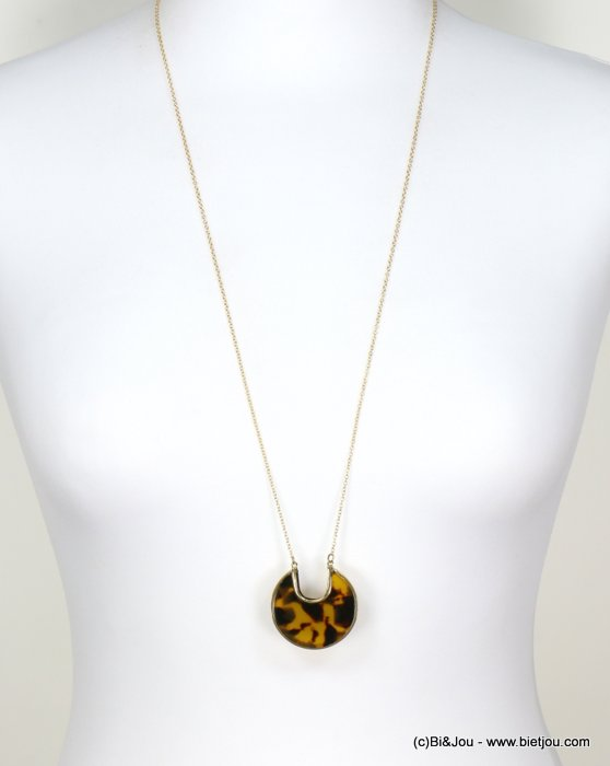 long necklace 0118664-02 tortoise shell resin-metal