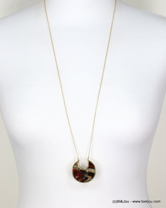 long necklace 0118664-10 tortoise shell resin-metal