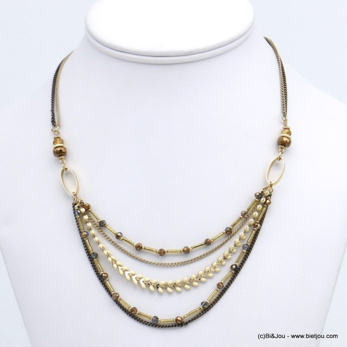 necklace 0118696-02 short multi-row chic in enamel and with crystal metal leaf slave link chain women