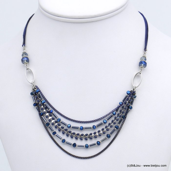 necklace 0118696-09 short multi-row chic in enamel and with crystal metal leaf slave link chain women