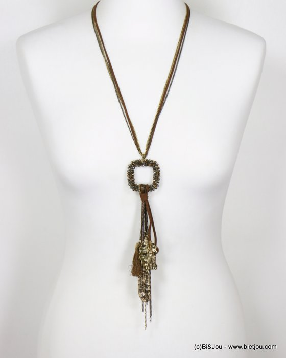 necklace 0118697-15 long necklace tassel leaf feather crystal-metal-polyester-ceram-suede cord