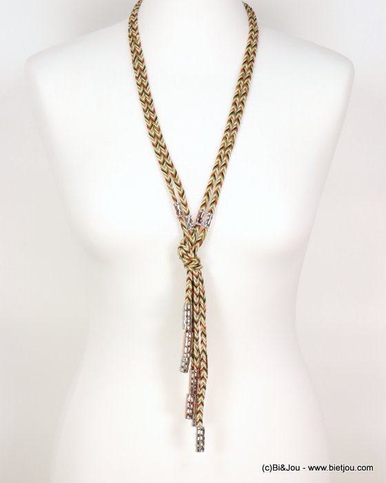 long necklace 0119001-14 sautoir double-row woven waxed cotton hammered shiny metal tubes