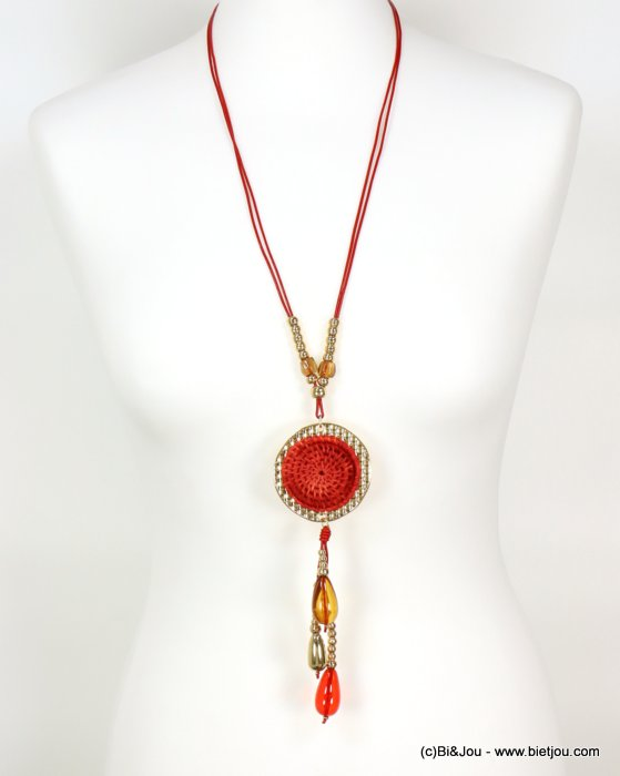 long necklace 0119006-12 sautoir woven rattant round-shaped metal pendant resin drop beads waxed cotton cords