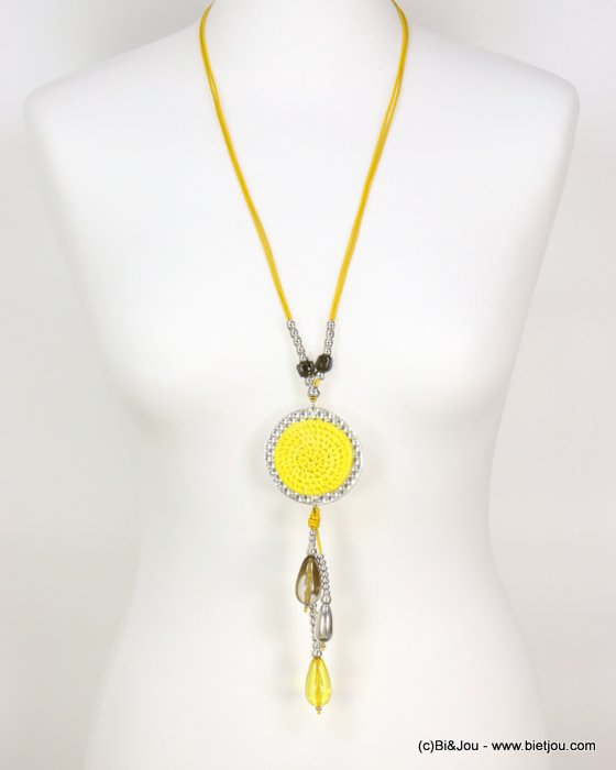 long necklace 0119006-14 sautoir woven rattant round-shaped metal pendant resin drop beads waxed cotton cords