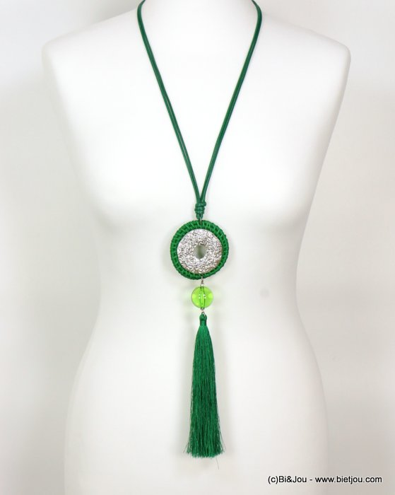 long necklace 0119008-07 sautoir tassel woven rattant metal-polyester-resin-waxed cotton cords
