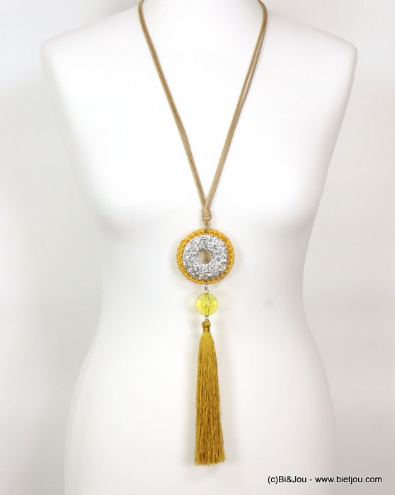 long necklace 0119008-14 sautoir tassel woven rattant metal-polyester-resin-waxed cotton cords
