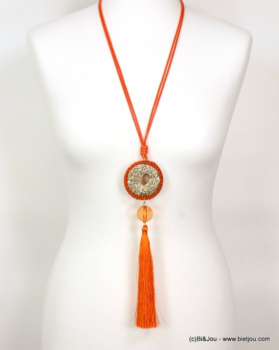long necklace 0119008-36 sautoir tassel woven rattant metal-polyester-resin-waxed cotton cords
