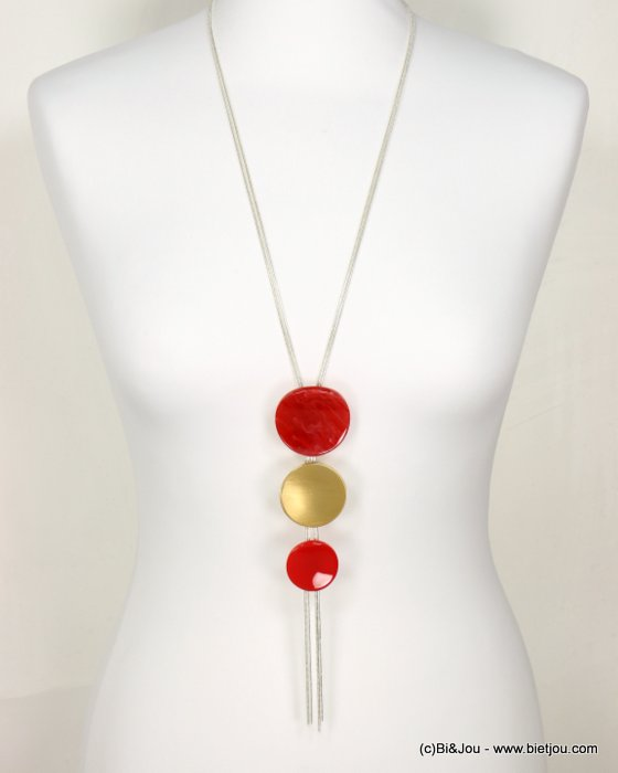 long necklace 0119015-12 sautoir marbled coloured resin metal round bead pendant vintage woman waxed cotton cord 40x120mm