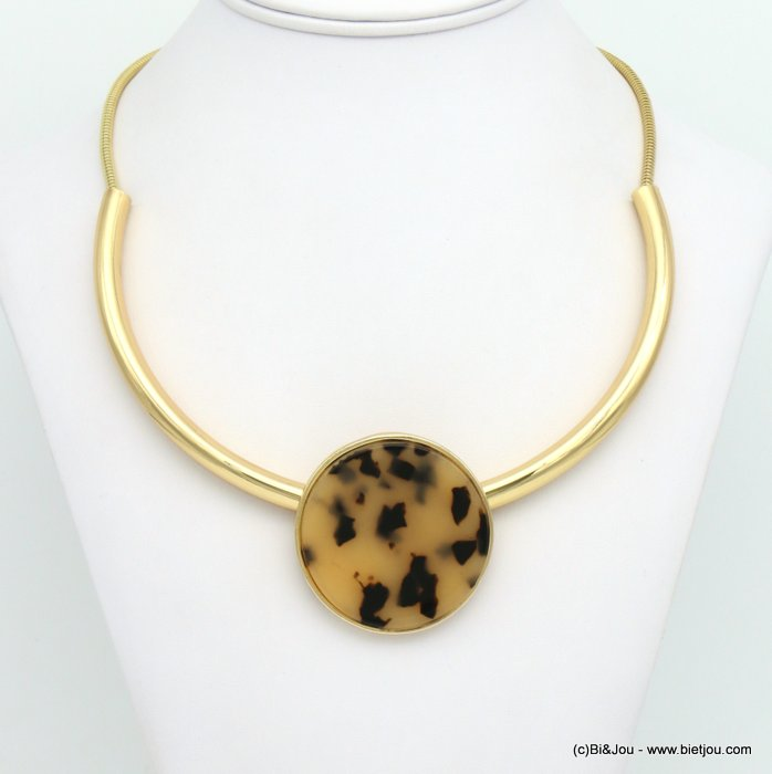 necklace 0119022-06 tortoise shell resin-metal