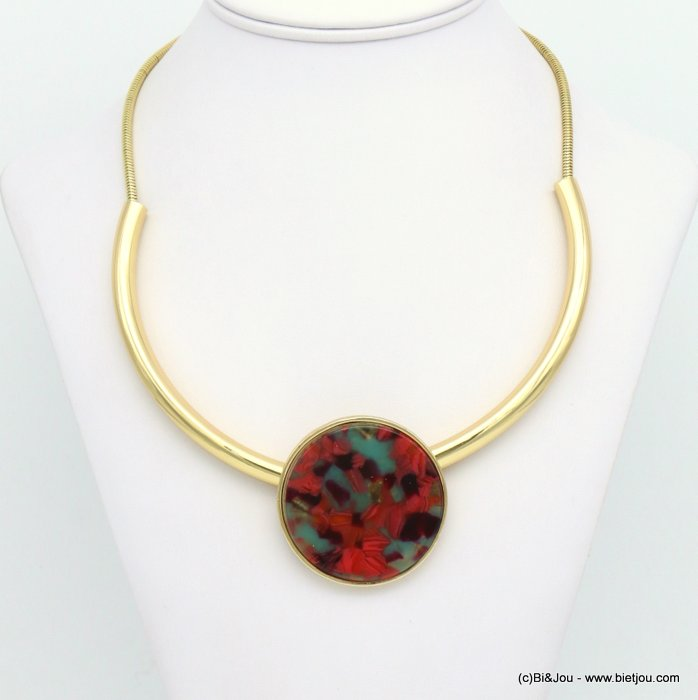 necklace 0119022-10 tortoise shell resin-metal