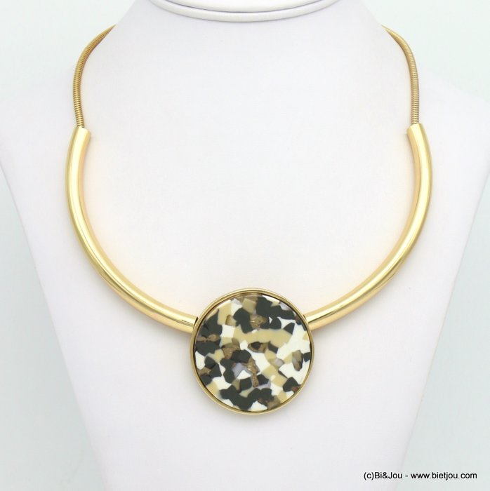necklace 0119022-19 tortoise shell resin-metal