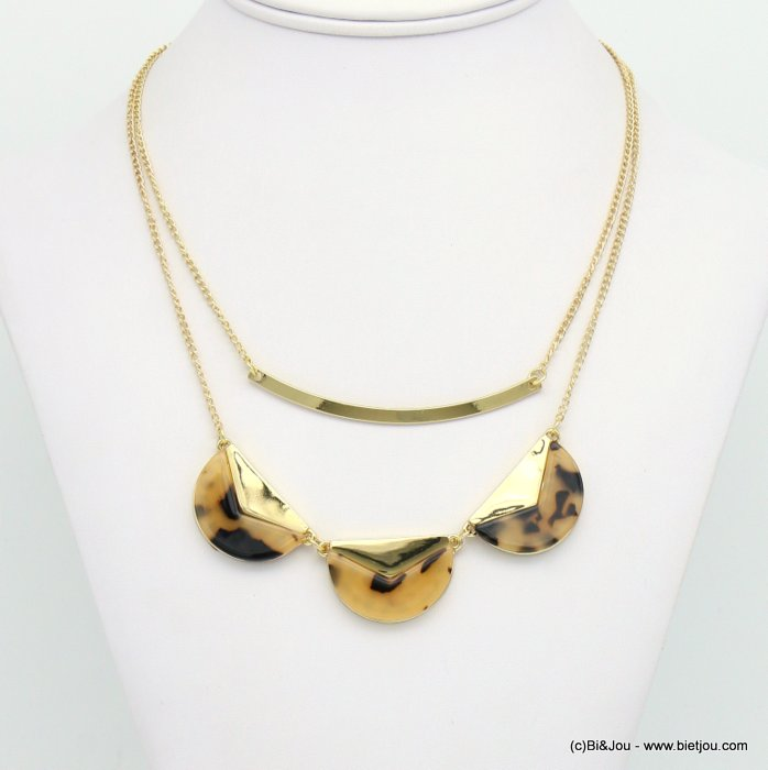 necklace 0119023-06 tortoise shell resin-metal