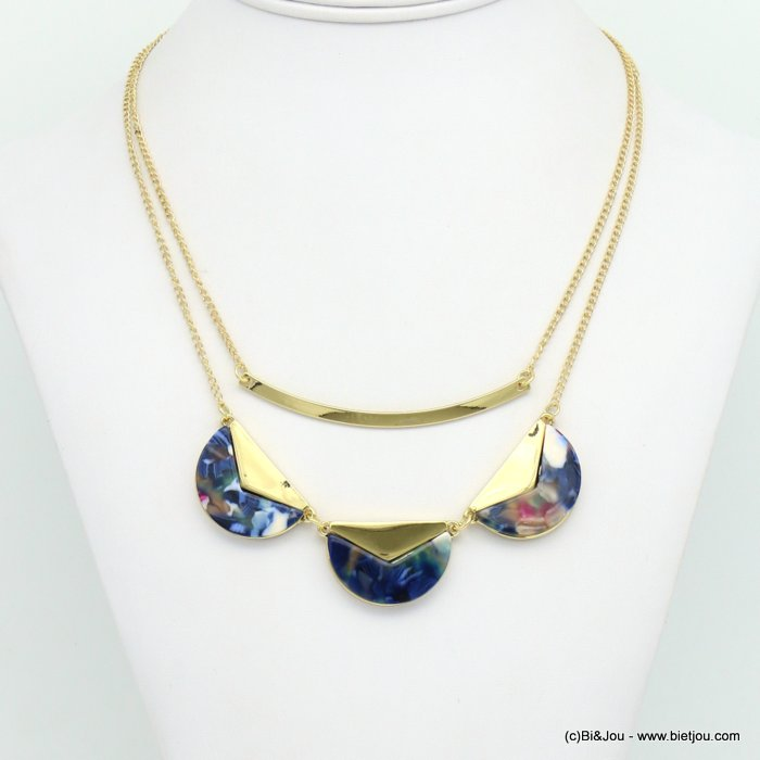 necklace 0119023-09 tortoise shell resin-metal