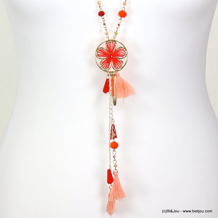 necklace 0119027-12 sautoir flower crochet tassel metal-cotton-crystal-seed beads
