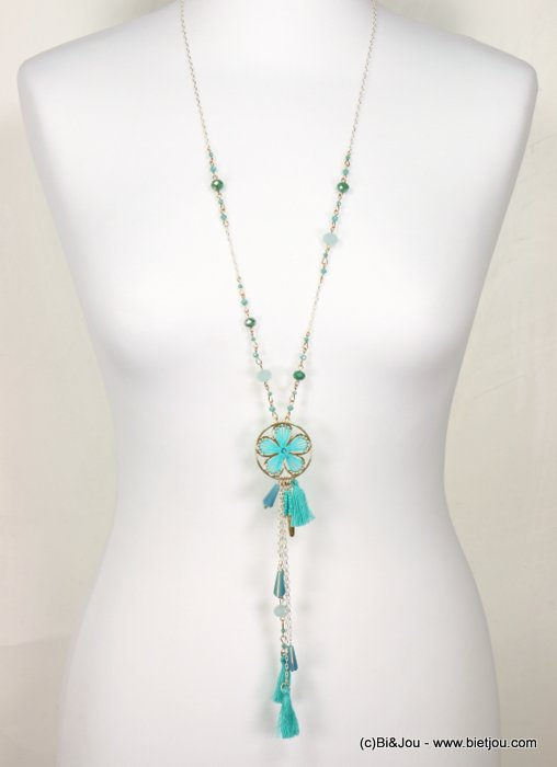 necklace 0119027-17 sautoir flower crochet tassel metal-cotton-crystal-seed beads