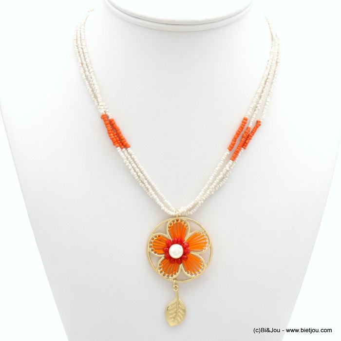 necklace 0119030-12 flower crochet tassel metal-cotton-crystal-seed beads-acrylic