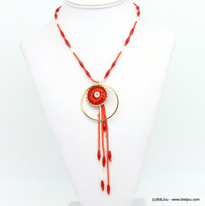necklace 0119031-12 crochet metal-cotton-crystal-seed beads-shell-glass
