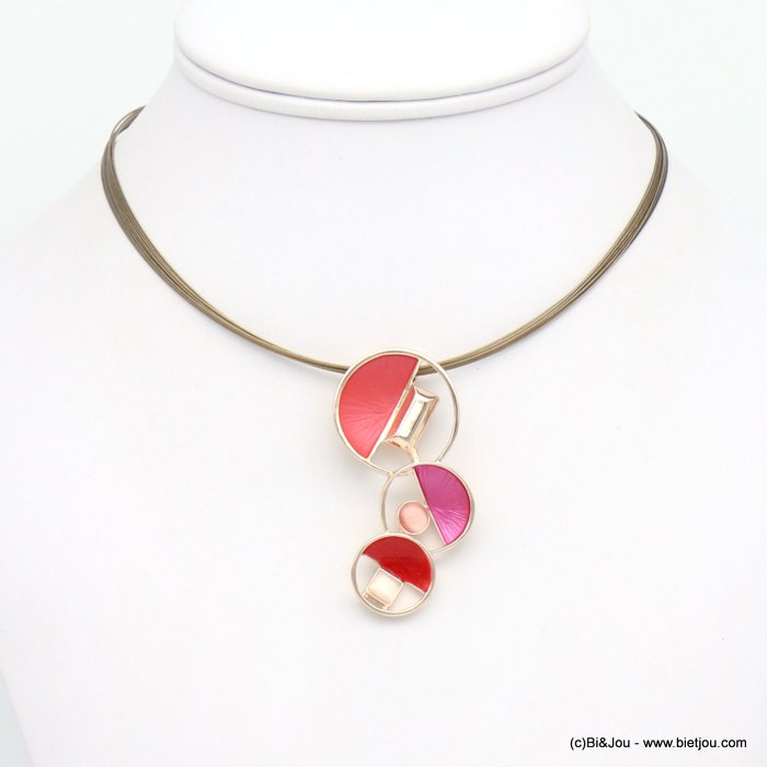 necklace 0119048-36 geometric abstract coloured metal glass pendant multi-strand cable wire woman 25x55mm