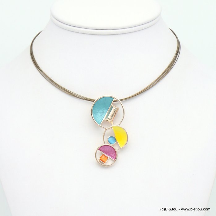 necklace 0119048-99 geometric abstract coloured metal glass pendant multi-strand cable wire woman 25x55mm