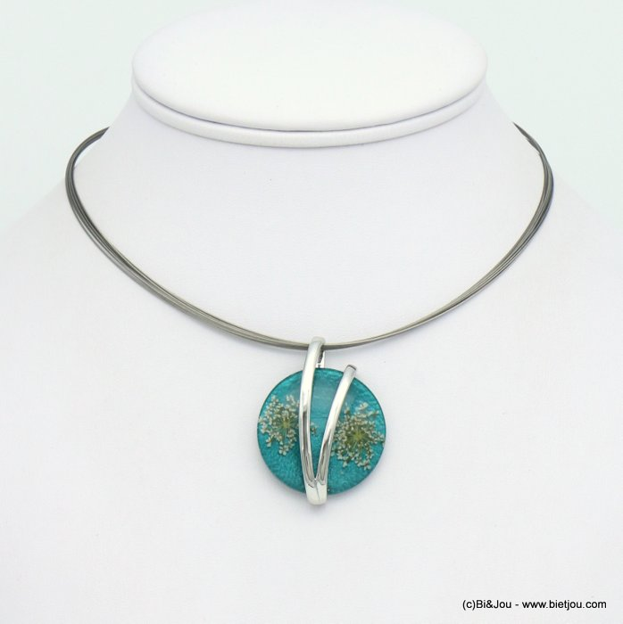 necklace 0119049-07 dried flowers resin coloured metal pendant multi-strand cable wire woman 30mm