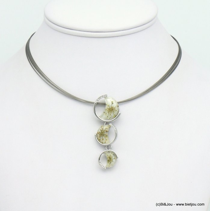 necklace 0119051-19 dried flowers rhinestone resin coloured metal pendant multi-strand cable wire woman 20x50mm