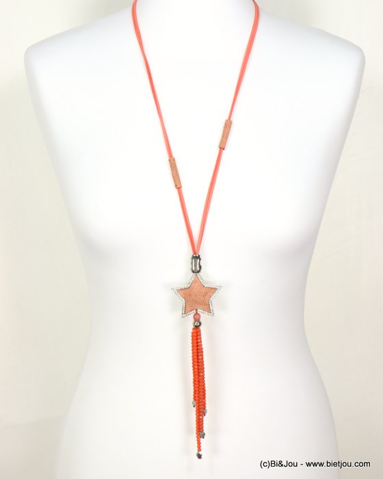 necklace 0119053-18 star tassel adjustable sliding sautoir cristal-metal-suede-reconstituted stone-strass-polyester