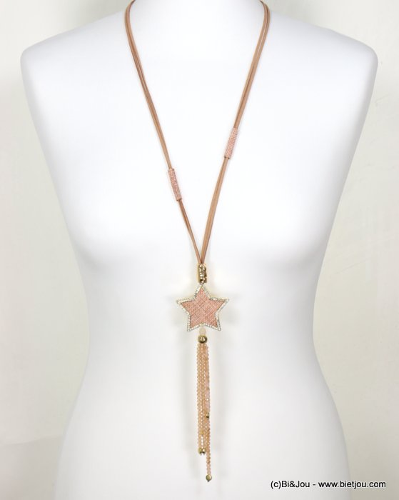 necklace 0119053-30 star tassel adjustable sliding sautoir cristal-metal-suede-reconstituted stone-strass-polyester