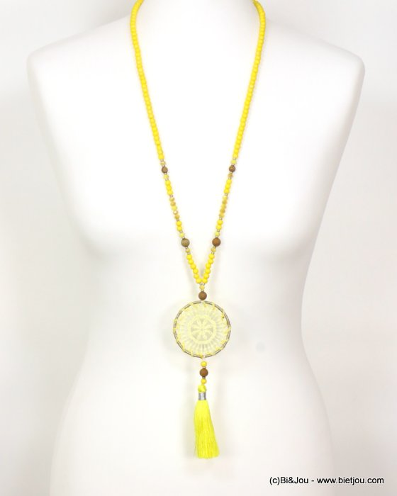 long necklace 0119057-14 sautoir woman tassel sliding adjustable wood-crystal-stone-polyetser-cotton